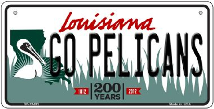 Go Pelicans Novelty Metal Bicycle Plate BP-13401