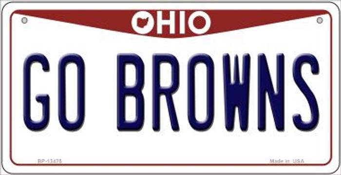 Go Browns Novelty Metal Bicycle Plate BP-13475