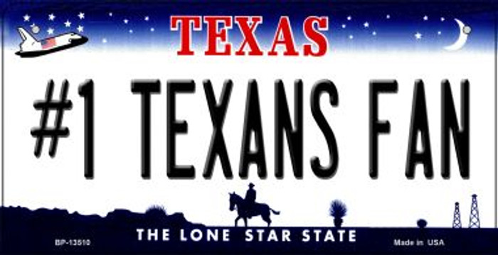 Number 1 Texans Fan Novelty Metal Bicycle Plate BP-13510