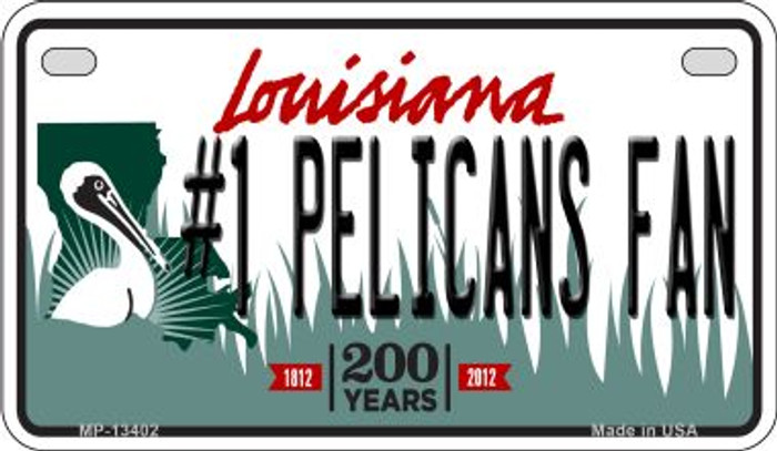 Number 1 Pelicans Fan Novelty Metal Motorcycle Plate MP-13402