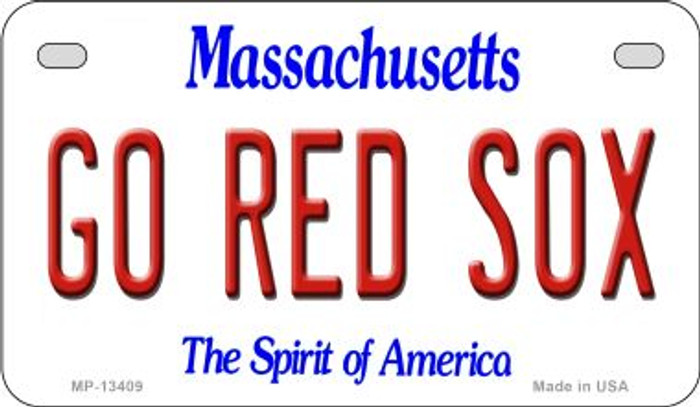 Go Red Sox Novelty Metal Motorcycle Plate MP-13409