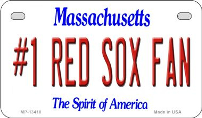 Number 1 Red Sox Fan Novelty Metal Motorcycle Plate MP-13410