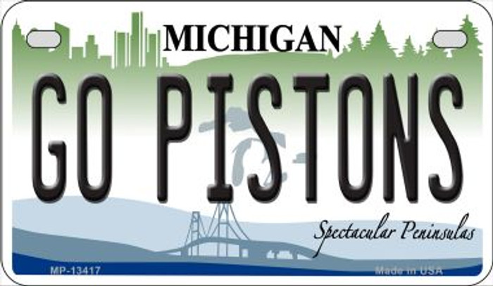 Go Pistons Novelty Metal Motorcycle Plate MP-134117