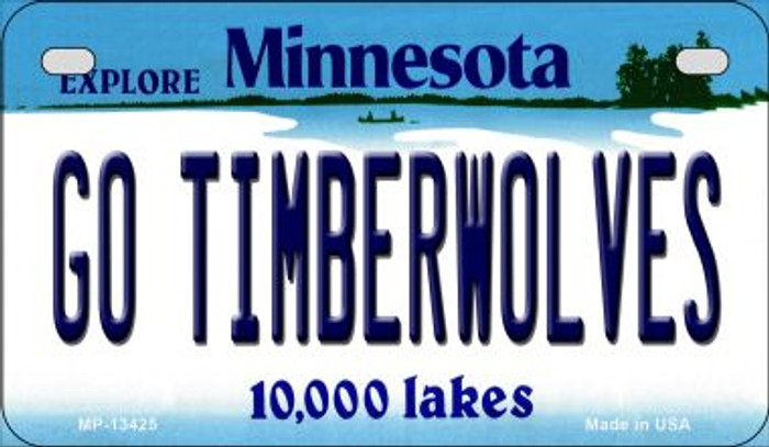 Go Timberwolves Novelty Metal Motorcycle Plate MP-13425