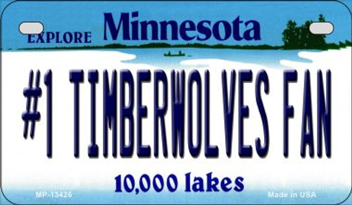 Number 1 Timberwolves Fan Novelty Metal Motorcycle Plate MP-13426