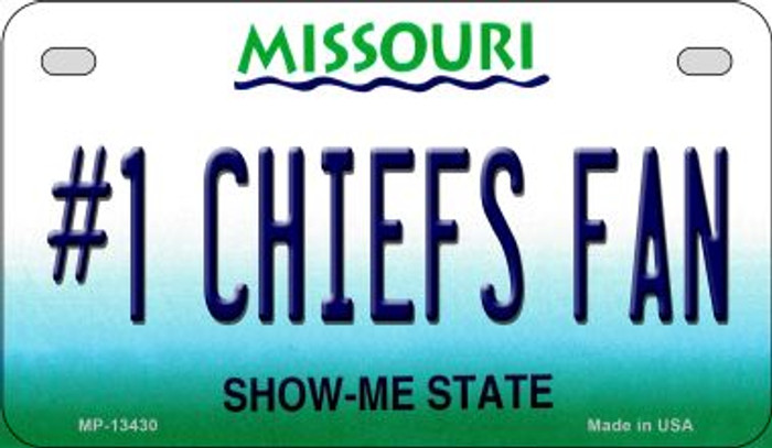 Number 1 Chiefs Fan Novelty Metal Motorcycle Plate MP-13430
