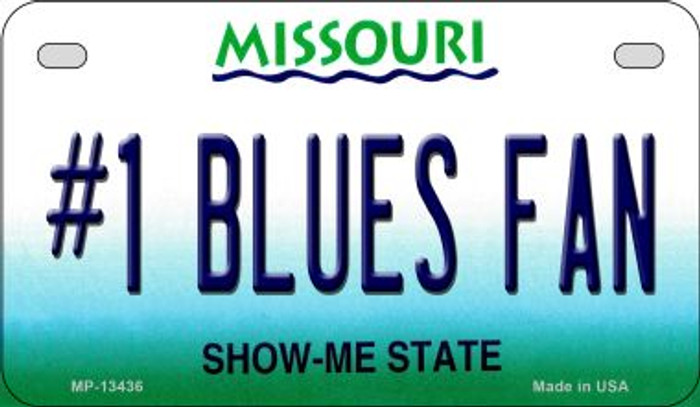 Number 1 Blues Fan Novelty Metal Motorcycle Plate MP-13436