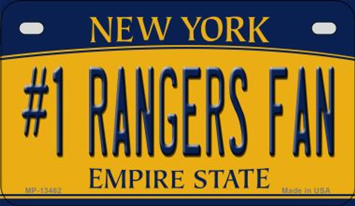 Number 1 Rangers Fan Novelty Metal Motorcycle Plate MP-13462
