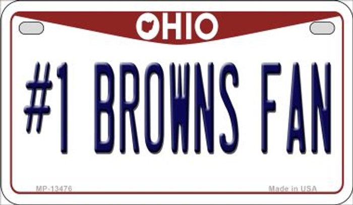 Number 1 Browns Fan Novelty Metal Motorcycle Plate MP-13476
