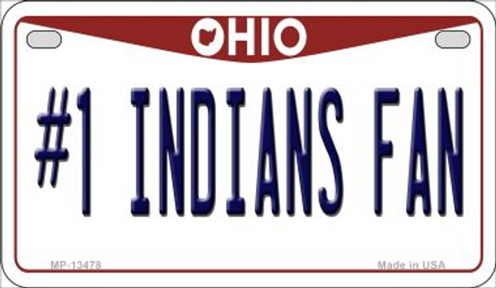 Number 1 Indians Fan Novelty Metal Motorcycle Plate MP-13478