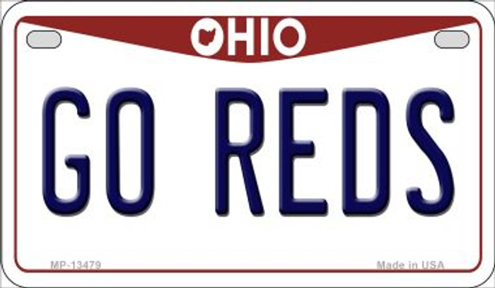 Go Reds Novelty Metal Motorcycle Plate MP-13479