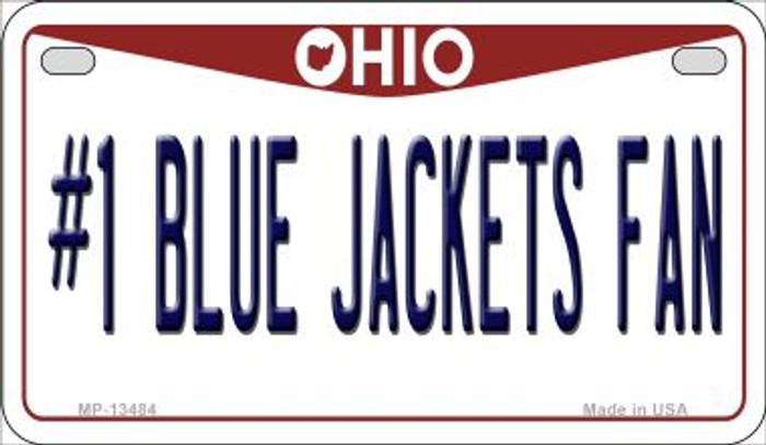 Number 1 Blue Jackets Fan Novelty Metal Motorcycle Plate MP-13484