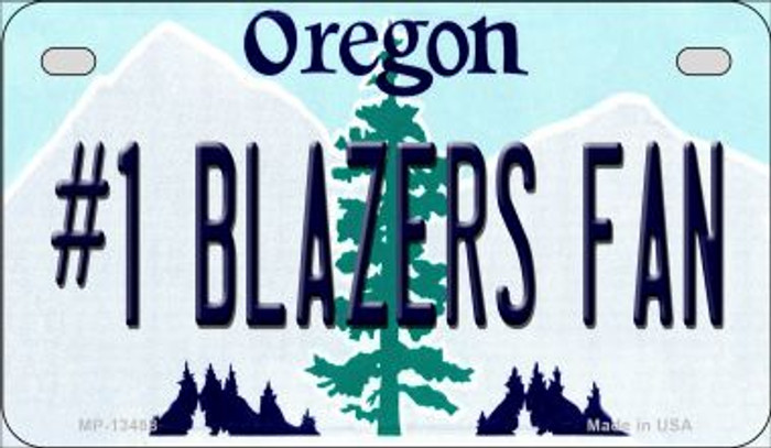Number 1 Blazers Fan Novelty Metal Motorcycle Plate MP-13488