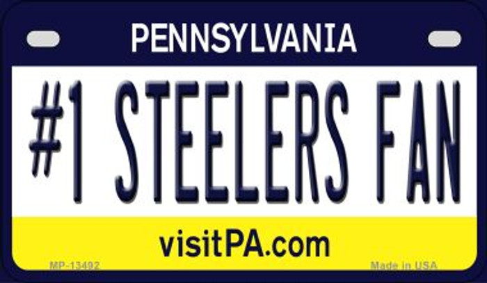 Number 1 Steelers Fan Novelty Metal Motorcycle Plate MP-13492