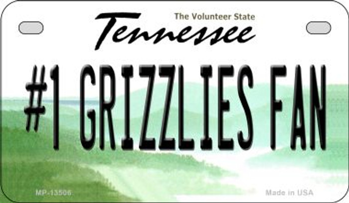 Number 1 Grizzlies Fan Novelty Metal Motorcycle Plate MP-13506