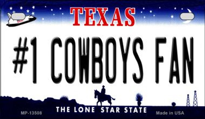 Number 1 Cowboys Fan Novelty Metal Motorcycle Plate MP-13508