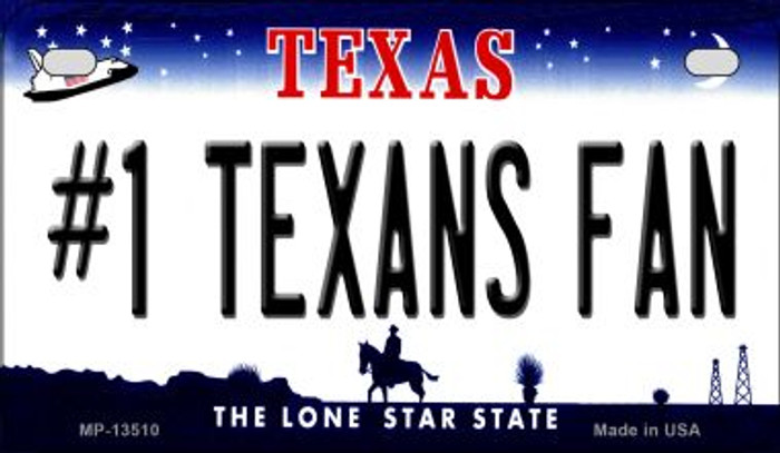 Number 1 Texans Fan Novelty Metal Motorcycle Plate MP-13510