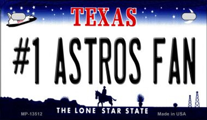 Number 1 Astros Fan Novelty Metal Motorcycle Plate MP-13512