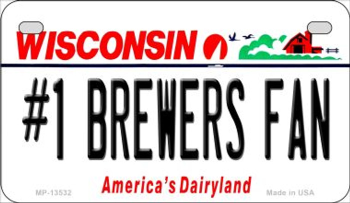 Number 1 Brewers Fan Novelty Metal Motorcycle Plate MP-13532