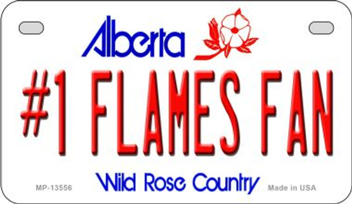 Number 1 Flames Fan Novelty Metal Motorcycle Plate MP-13556