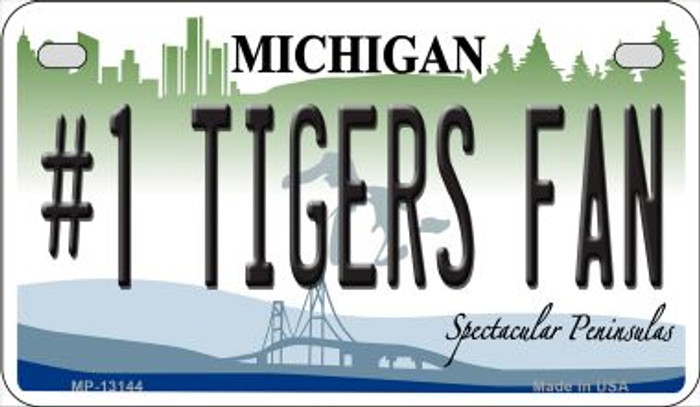 Number 1 Tigers Fan Novelty Metal Motorcycle Plate MP-13144