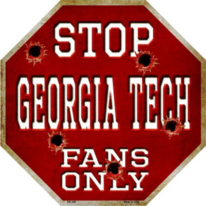 Georgia Tech Fans Only Metal Novelty Octagon Stop Sign BS-340