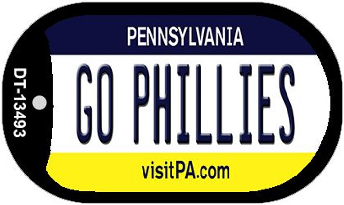 Go Phillies Novelty Metal Dog Tag Necklace DT-13493