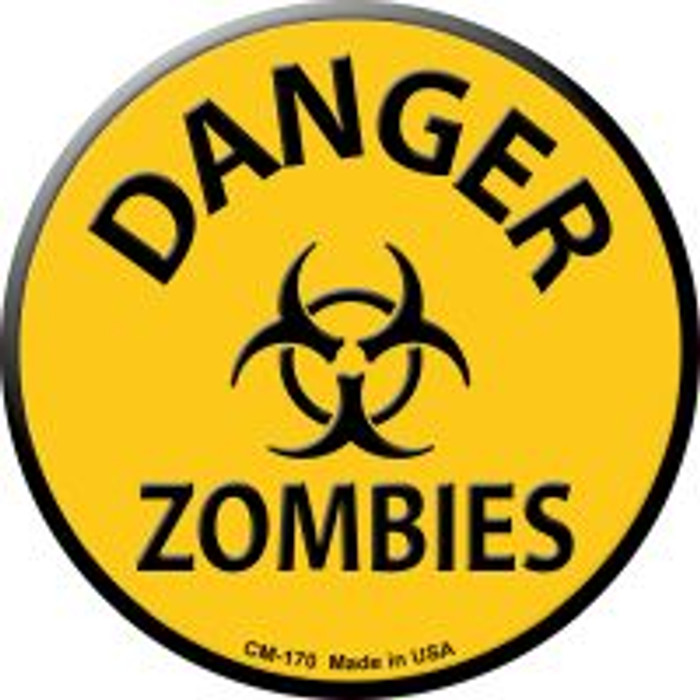 Danger Zombies Novelty Metal Mini Circle Magnet CM-170