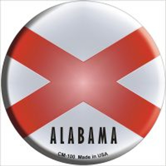 Alabama State Flag Novelty Metal Mini Circle Magnet CM-100