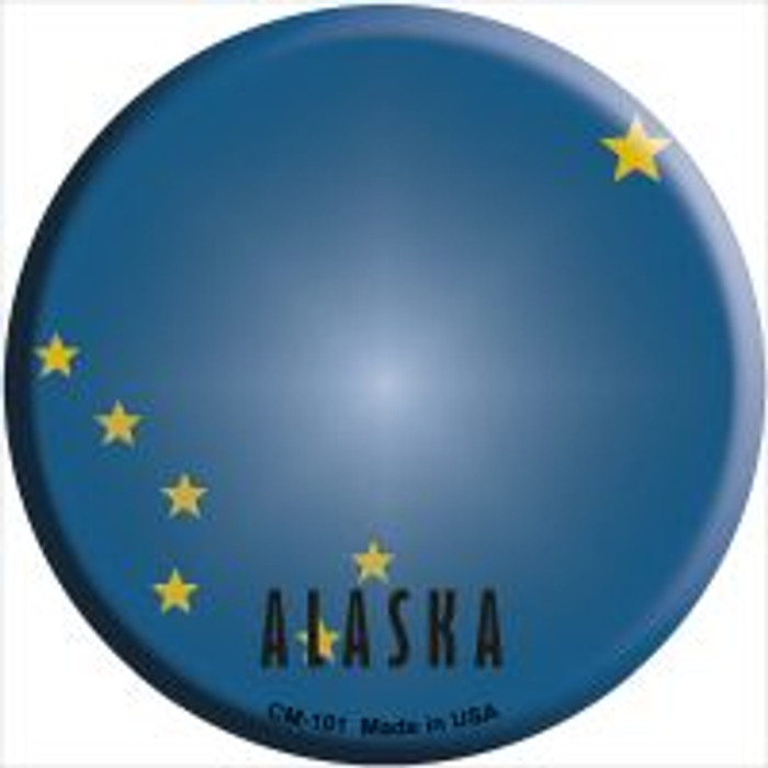 Alaska State Flag Novelty Metal Mini Circle Magnet CM-101