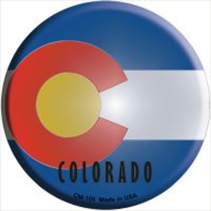 Colorado State Flag Novelty Metal Mini Circle Magnet CM-105