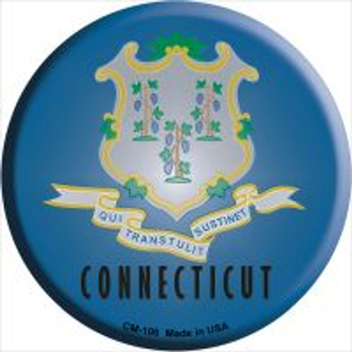 Connecticut State Flag Novelty Metal Mini Circle Magnet CM-106