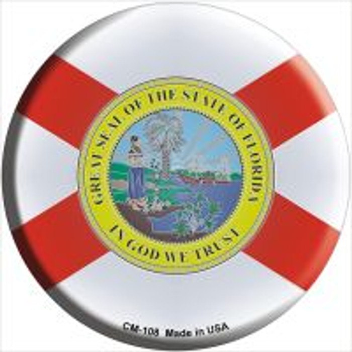 Florida State Flag Novelty Metal Mini Circle Magnet CM-108