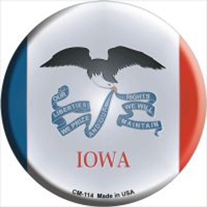 Iowa State Flag Novelty Metal Mini Circle Magnet CM-114