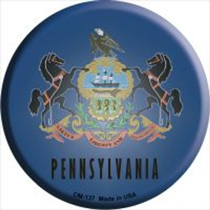 Pennsylvania Flag Novelty Metal Mini Circle Magnet CM-137