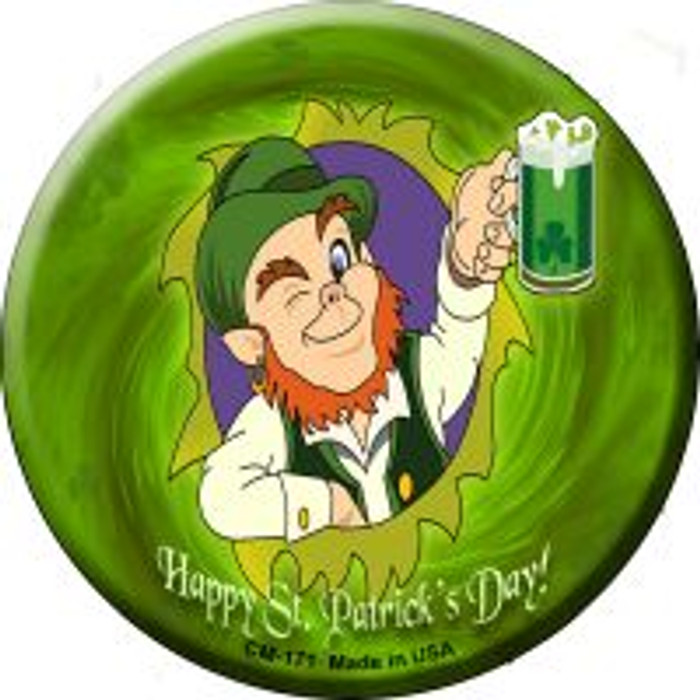 Happy St. Patricks Day Novelty Metal Mini Circle Magnet CM-171