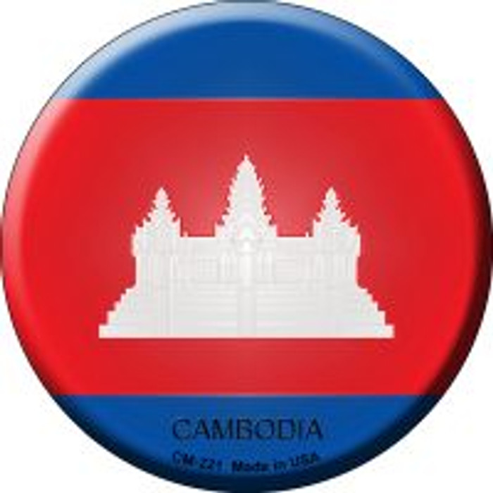Cambodia Country Novelty Metal Mini Circle Magnet CM-221