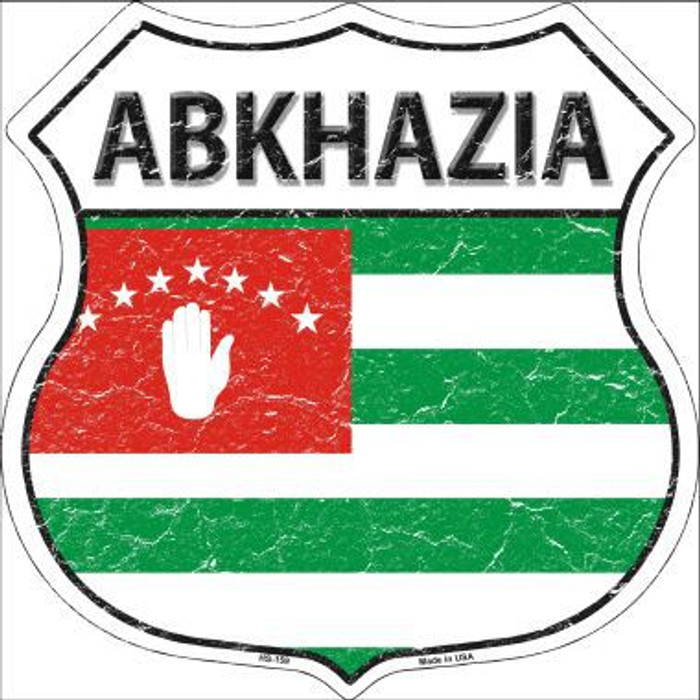 Abkhazia Flag Shield Metal Sign