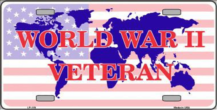 WW II Veteran Novelty Metal License Plate