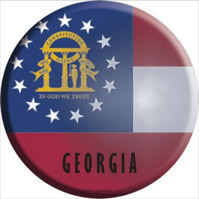 Georgia State Flag Metal Circular Sign