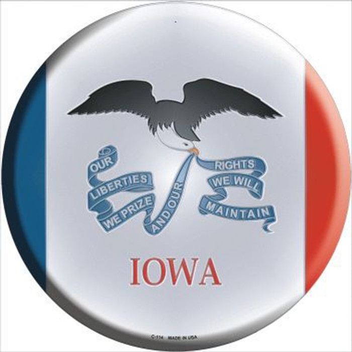 Iowa State Flag Metal Circular Sign