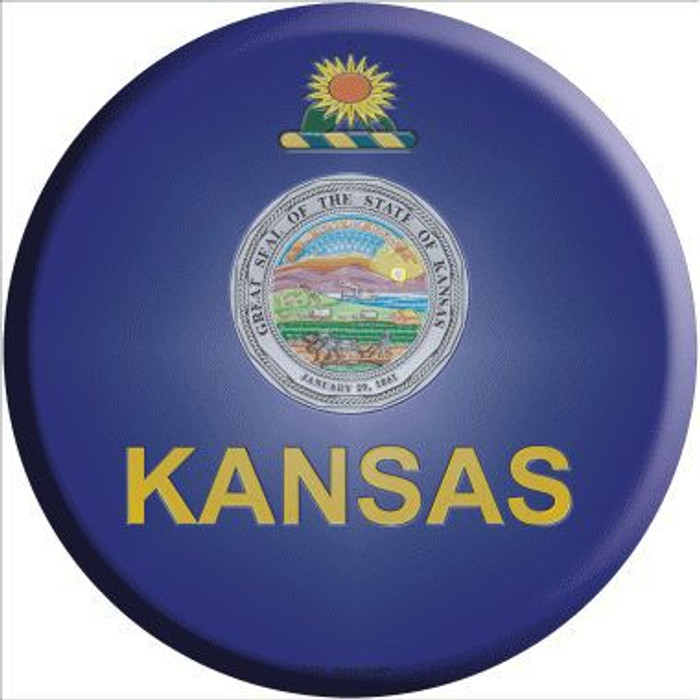Kansas State Flag Metal Circular Sign