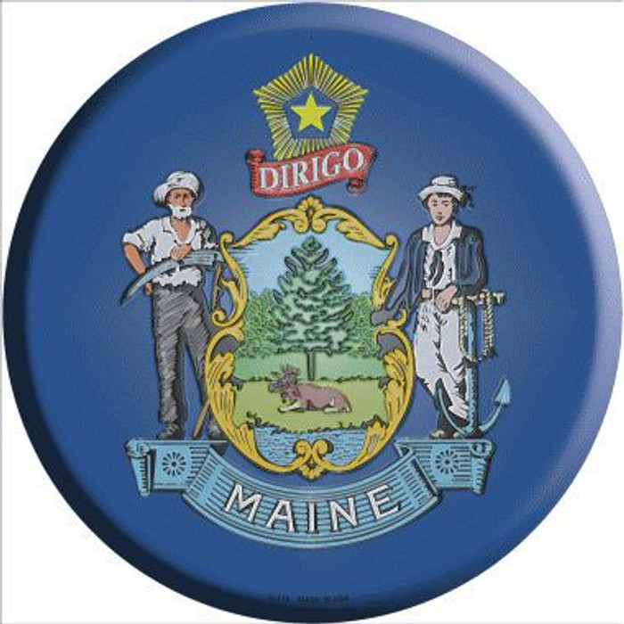 Maine State Flag Metal Circular Sign