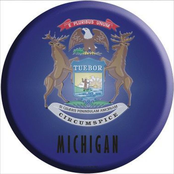 Michigan State Flag Metal Circular Sign