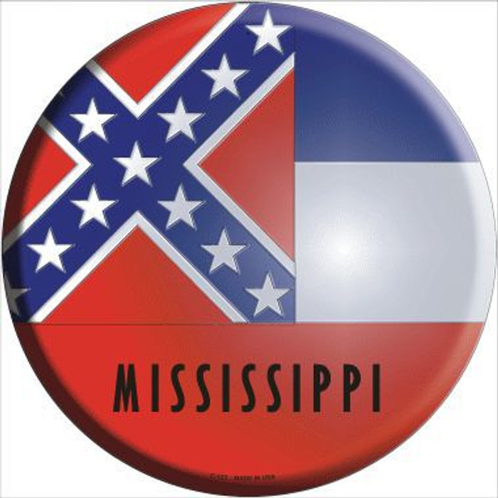 Mississippi State Flag Metal Circular Sign