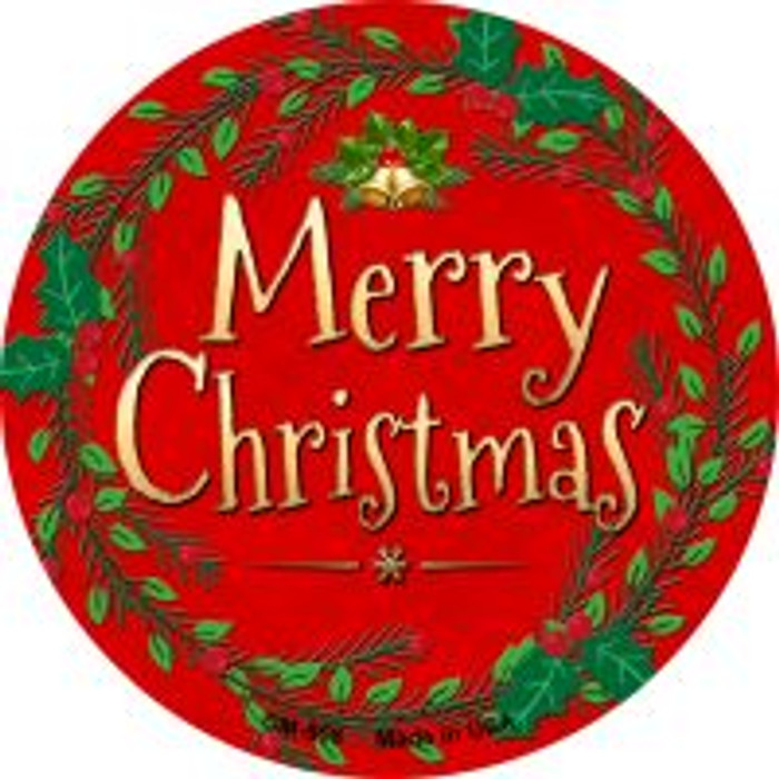Merry Christmas Novelty Metal Mini Circle Magnet CM-558