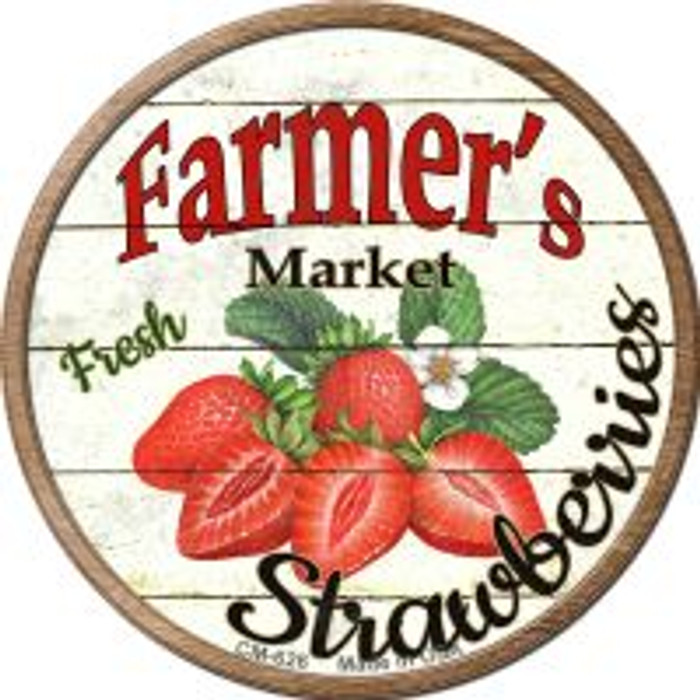 Farmers Market Strawberries Novelty Metal Mini Circle Magnet CM-626