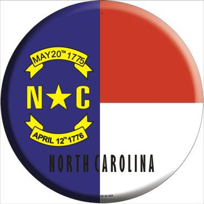 North Carolina State Flag Metal Circular Sign
