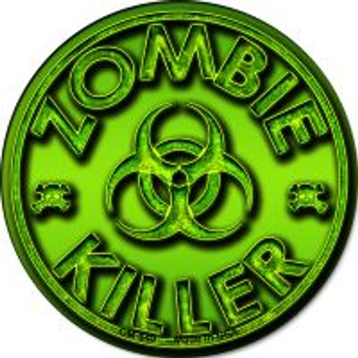 Zombie Killer Novelty Metal Mini Circle Magnet CM-649