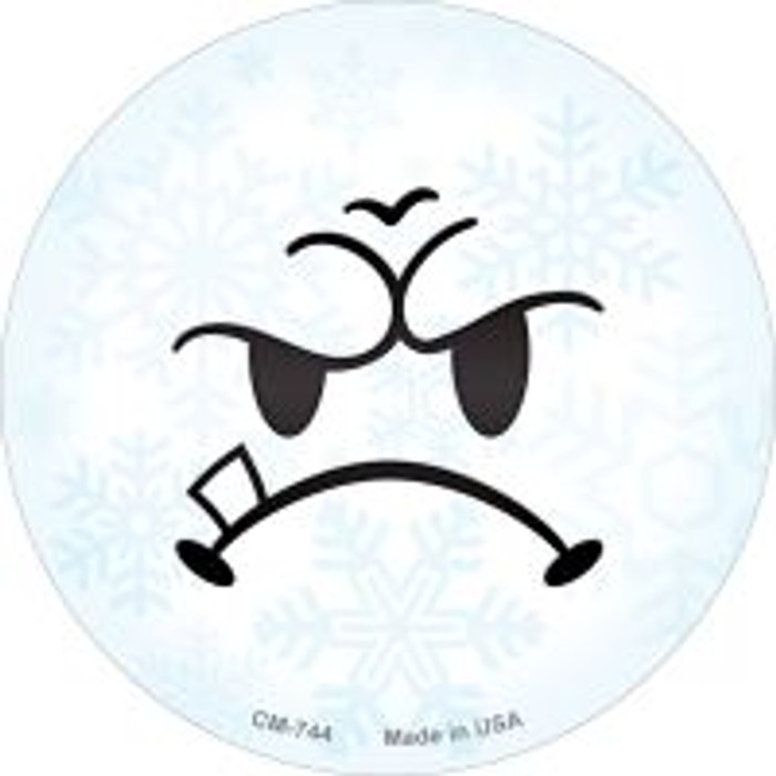 Mean Face Snowflake Novelty Metal Mini Circle Magnet CM-744